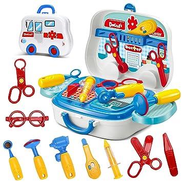 1faf6efd2 Juegos de Imitación maletín de doctor Médicos Juguete de Roles Doctora con  Accesorios para Niños 3 4 5 Años  Amazon.es  Juguetes y juegos