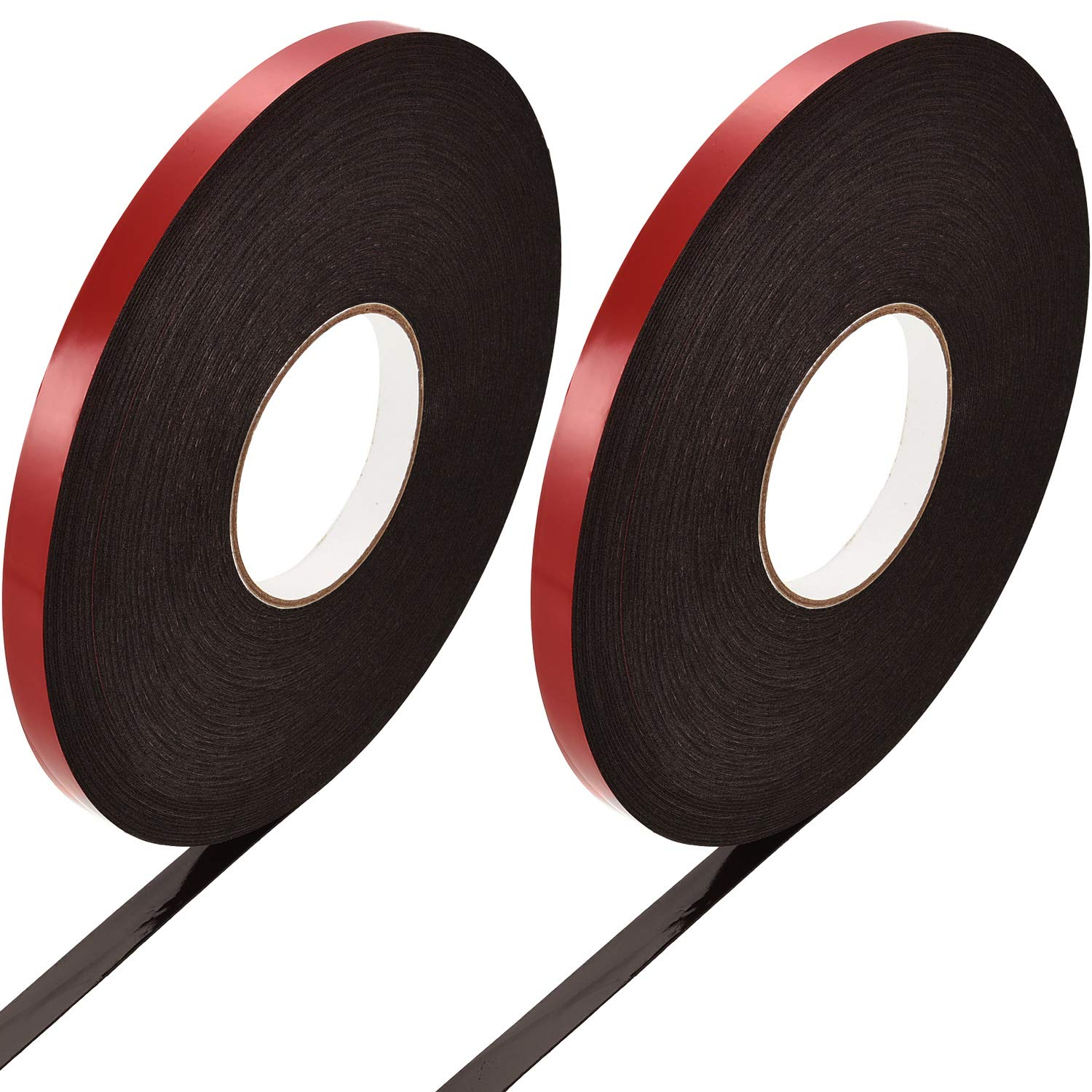 Zhehao 2 Rolls Foam Mounting Tape Double Sided Removable Mounting Tape, 1/ 2 Inch x 196 Feet (13 mm x 60 m)
