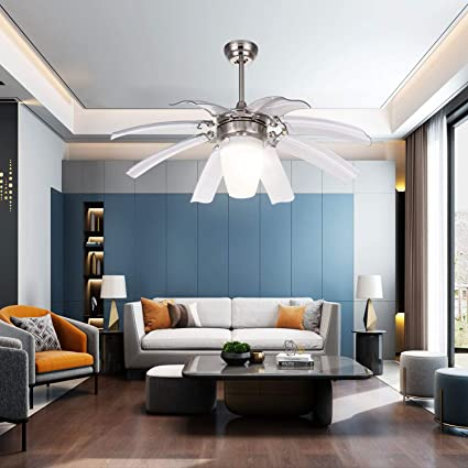 LuxureFan 42 White Led Ceiling Fan Light 3-Colors Light Changing with 8  Acrylic Blade Decoration Home/Restaurant Modern Chandelier