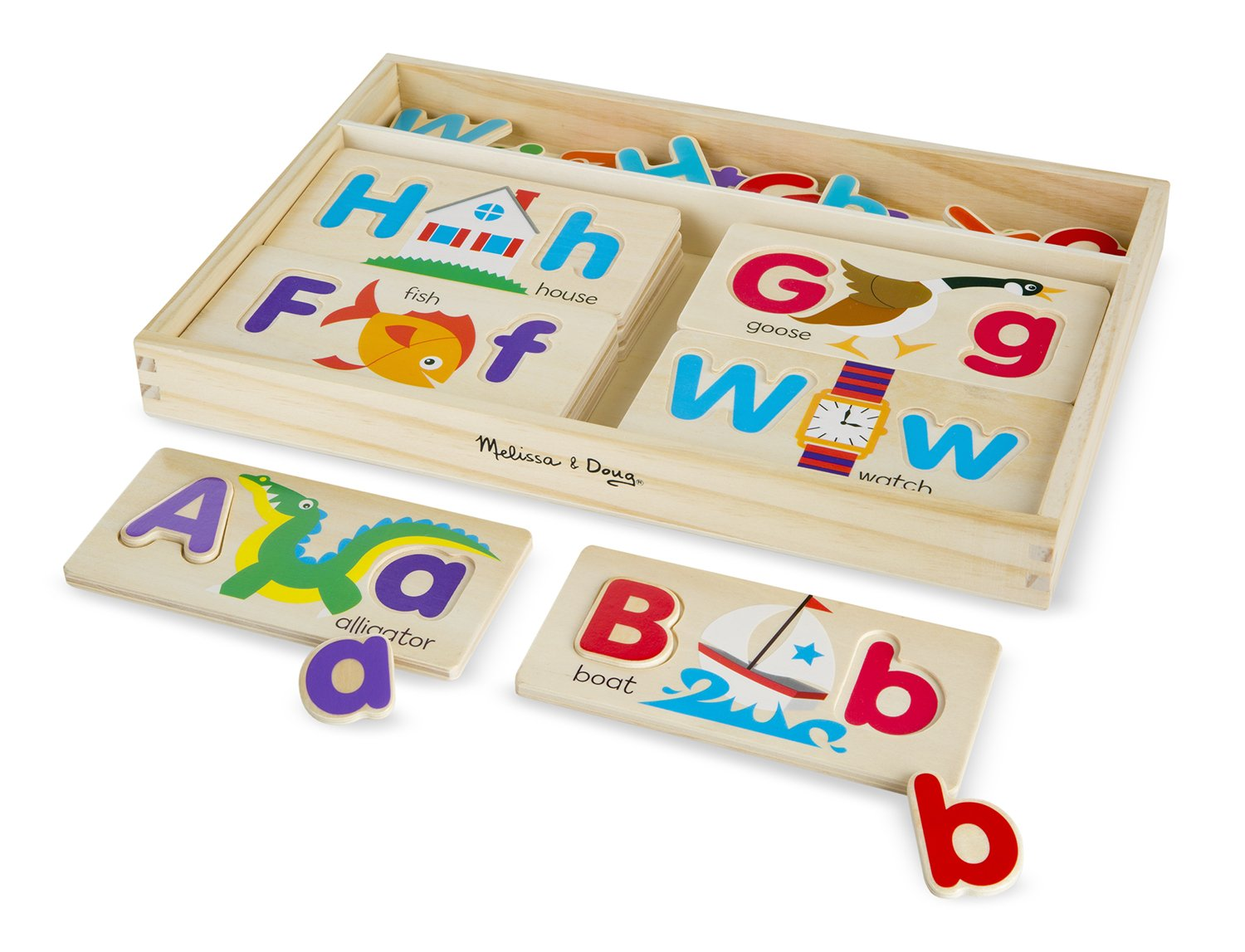 Melissa Doug ABC Picture Boards Educational Toy With 13 Double Sided Wooden Boards and 52 Letters