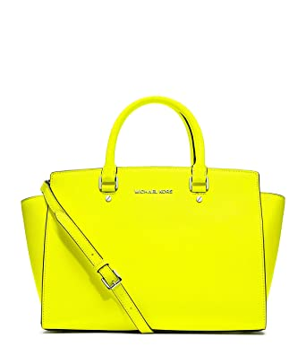 a015a23a5669 ... official store michael kors selma satchel neon yellow 0aa8c e0790 ...