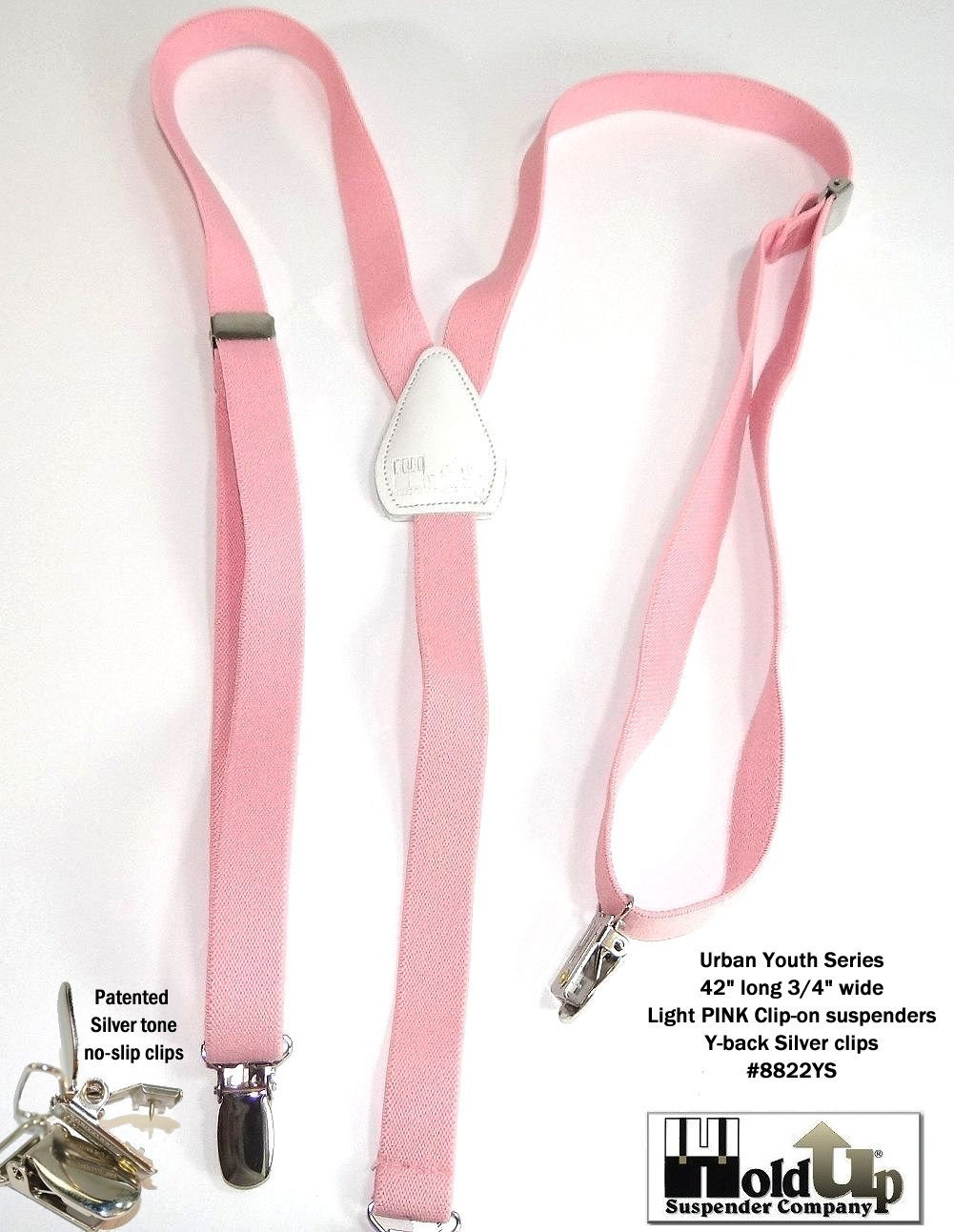 Hold-Ups Urban Youth 3/4'' wide Suspender in Y-back with No-slip Clips (Light Pink) by Hold-Up Suspender Co. (Image #6)