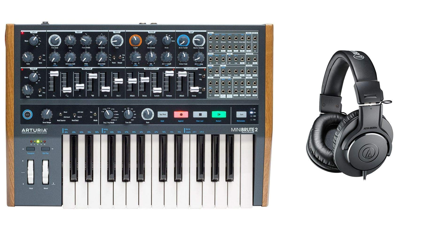 Arturia Minibrute 2 Synthesizer Bundle with Audio-Technica ATH-M20x Headphones (2 Items)