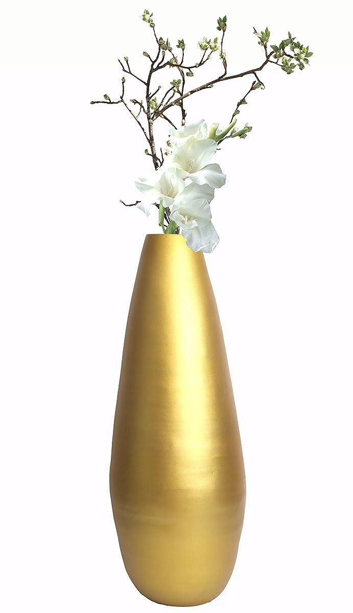 "Uniquewise QI003354G.L 31.5"" Spun Bamboo Modern Tall Floor Vase, Gold Metallic"