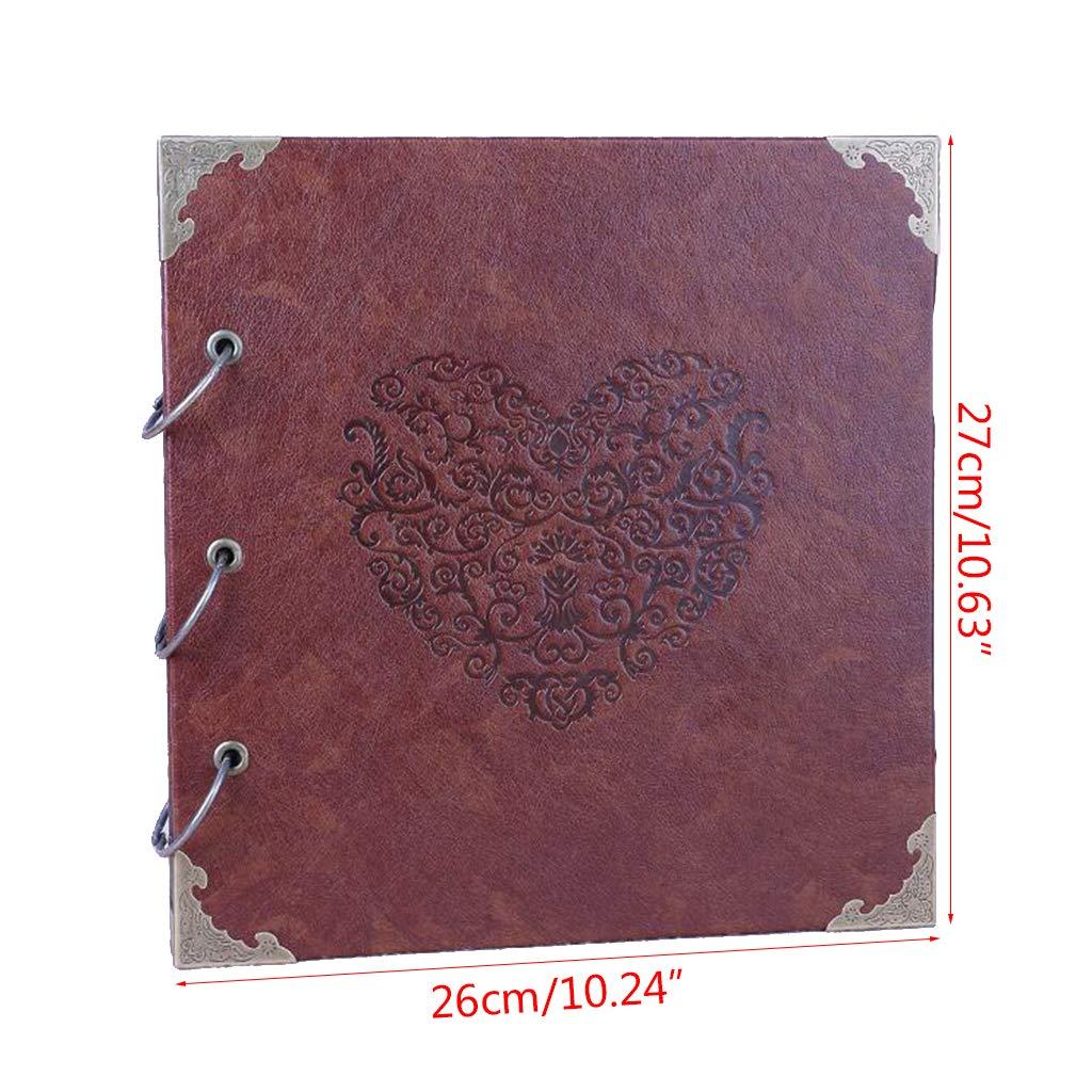 Nuonyerg Custom Wedding Guest Book ,Heart-Shaped Leather Cover Scrapbook DIY Photo Album,Perfect as Wedding Guest Book by Nuonyerg (Image #7)