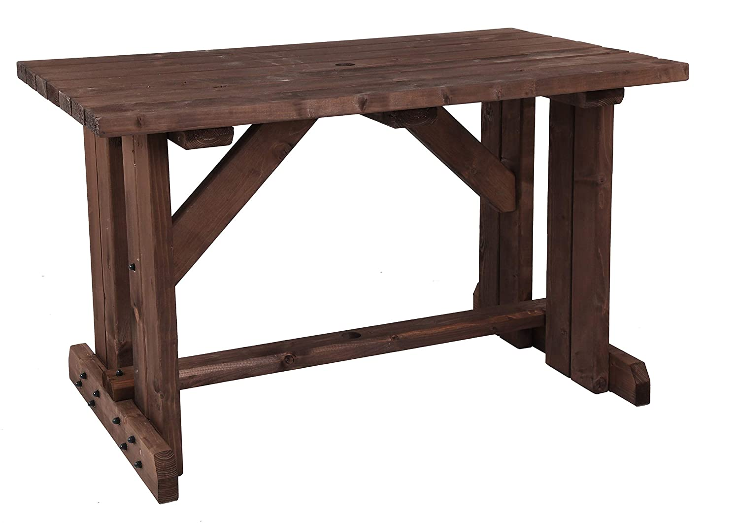 MC TIMBER PRODUCTS LTD 4ft Garden Table in Rustic Brown Stain - Garden Furniture - BBQ Table - Dining Table