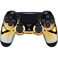 eXtremeRate Tri-Color Gradients Faceplate Cover, Chrome Black Gold Silver Front Housing Shell Case Replacement Kit for Playstation 4 PS4 Slim PS4 Pro Controller (CUH-ZCT2 JDM-040 JDM-050 JDM-055)