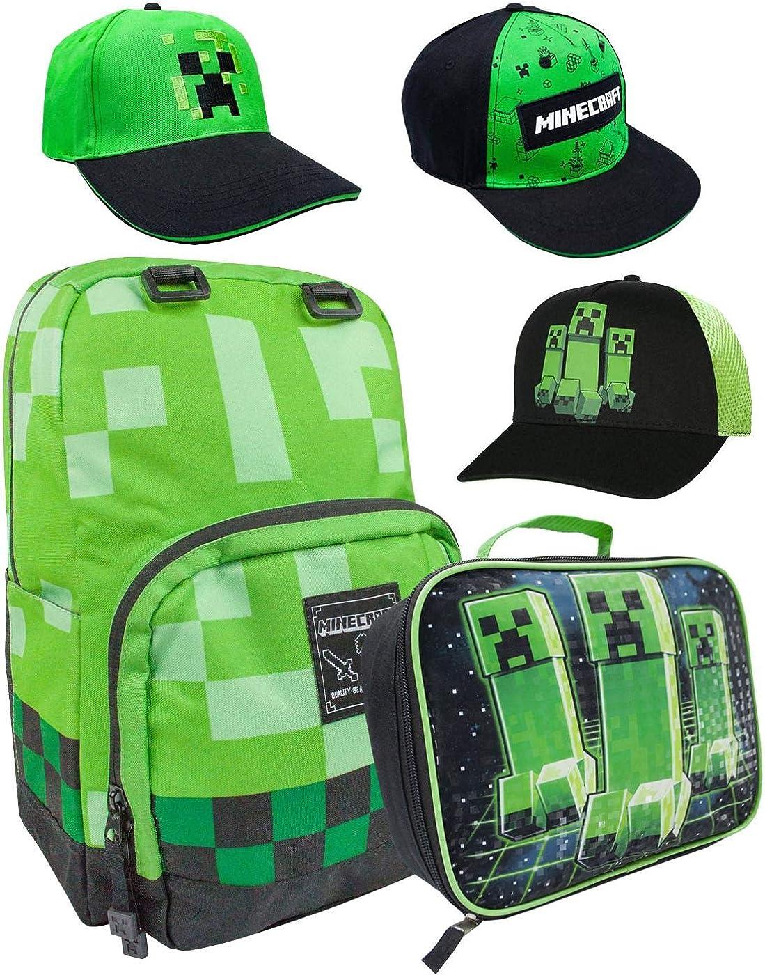 Minecraft Creeper Mochila, lonchera y varios estilos de tapa Verde Cara Creeper S/M: Amazon.es: Ropa y accesorios