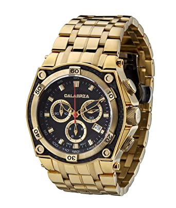 calabria aureo gold chronograph mens watch with carbon fiber bezel and stainless steel band calabria stainless steel