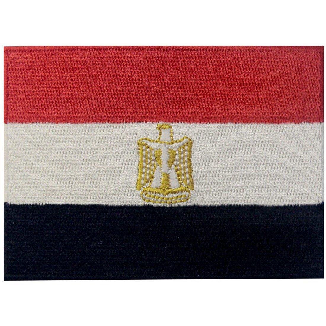 Bandiera dell'Egitto Termoadesiva Cucibile Ricamata Arabo Egiziano Nazionale Toppa EmbTao