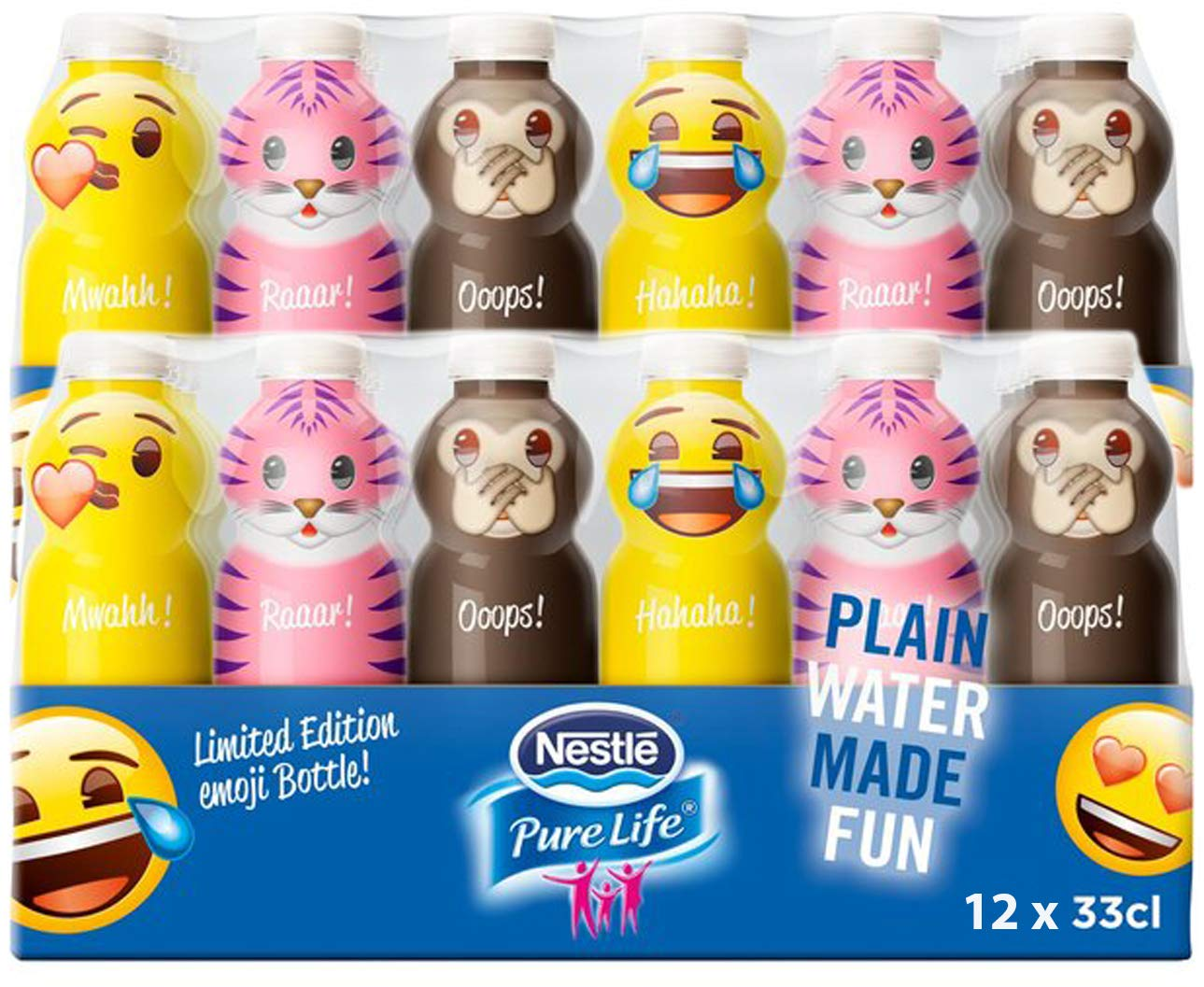 Nestle Water Emoji Pure Life Limited Edition Emoji Bottled Purified  Drinking Water, 11 15 Fl Oz (Pack of