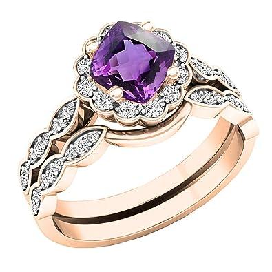 Amazon Com 14k Rose Gold 5 5 Mm Cushion Gemstone Round Diamond