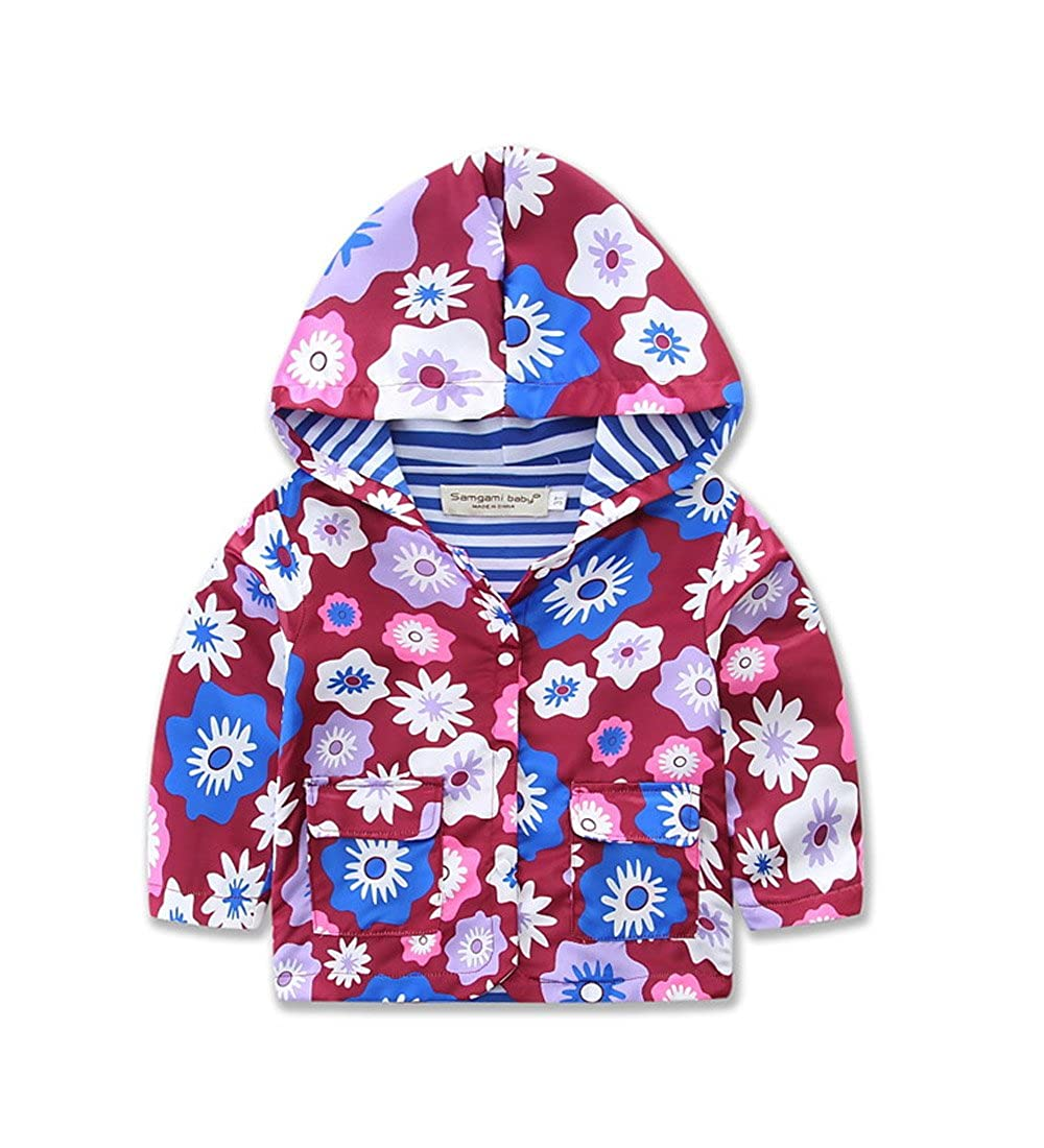 Samgami Baby Butterfly Girls Baby Kids Hooded Coat Jacket Outwear Cotton Stamp Windbreaker Hoodies 2Y-6Y