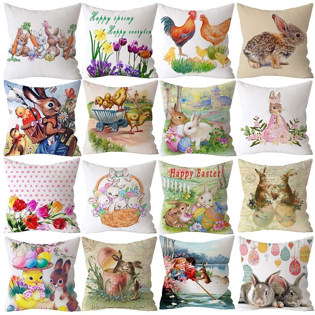 SFE Easter Rabbit Print Pillow Case Polyester Sofa Car Cushion Cover Home Decor by SFE-Pillow (Image #2)