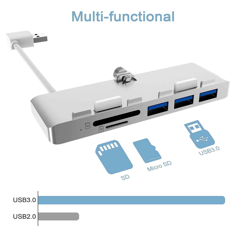 Alcey USB 3.0ハブ、iMac向けの超薄型 プレミアムアルミニウム製 SD/TFカードリーダーコンボ搭載3 ポートUSB ハブ