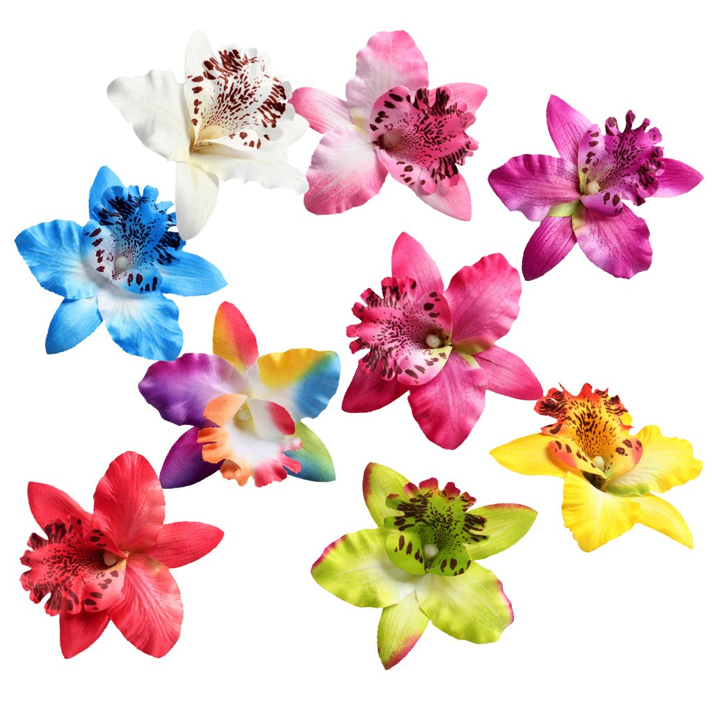 10x Assorted Color Flower Embellishments for Headband Clothing Decoration