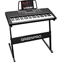 GreenPro 61 Key Portable Electronic Piano Keyboard LED Display with Adjustable Stand...