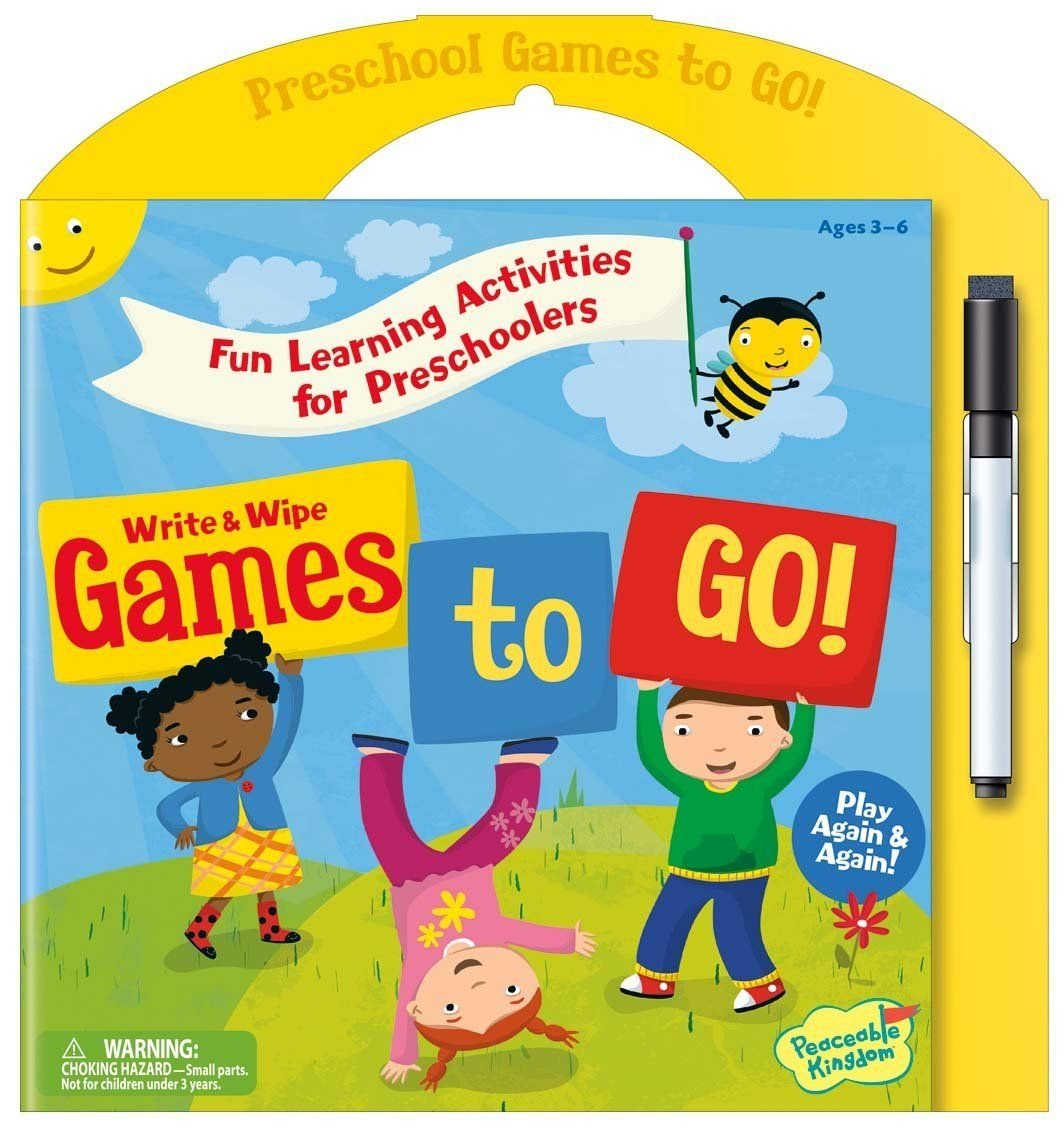 Amazon.com: Peaceable Kingdom Preschool Write and Wipe Games to Go ...