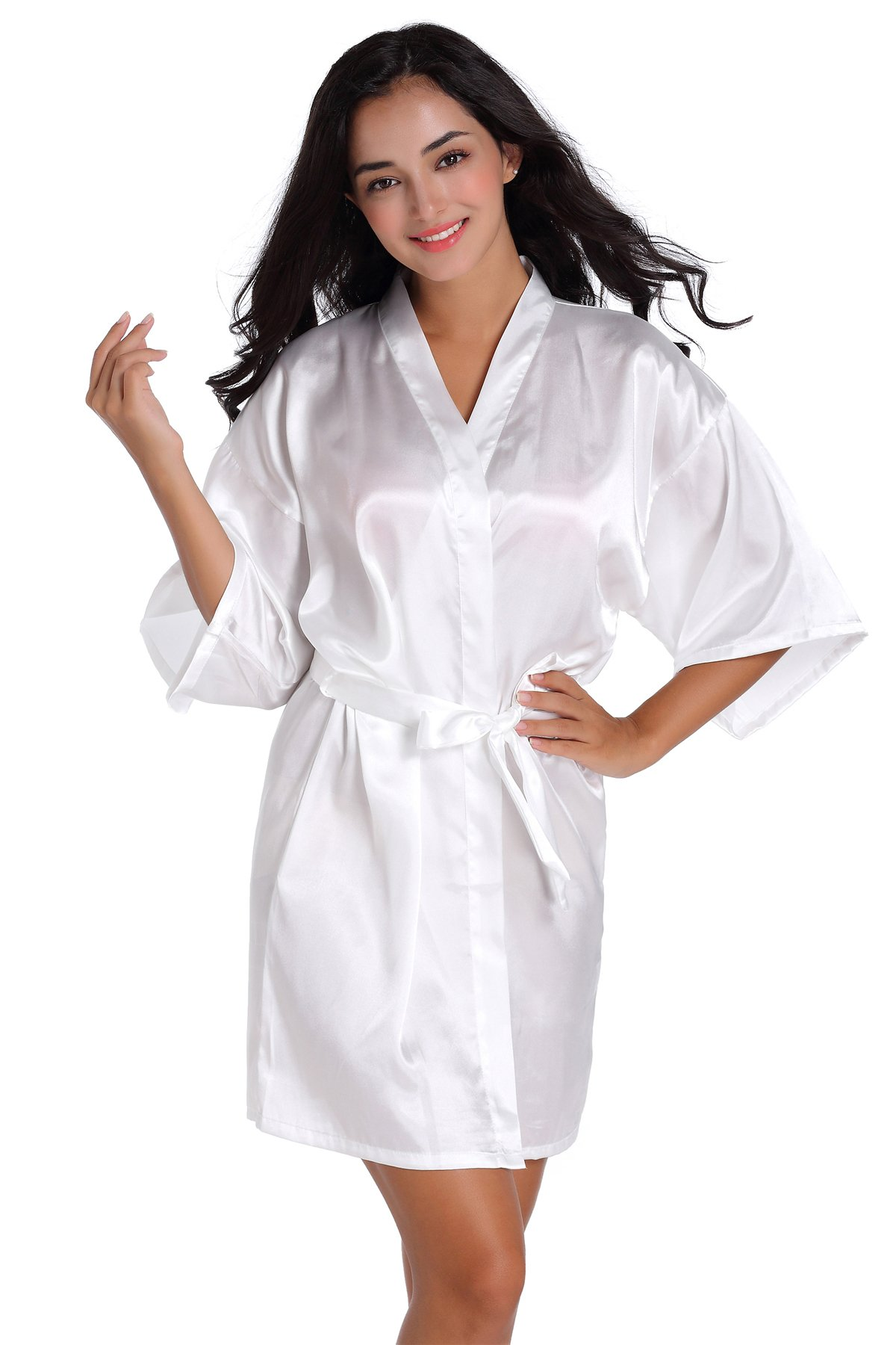 SIMJOY Women s Satin Short Kimono Robe Plain Dressing Gown Bathrobe Bridal  Party Robe 368dd26ac