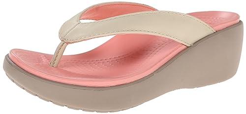 1fb59c8814b8 Crocs Women s Capri Leather Wedge Flip Flop