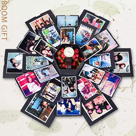 Kffkjjll Explosion Box álbum De Fotos Con Acabado Hexagonal Con Acabado Multicapa Ideal Como Regalo De Cumpleaños Boda Color Negro Amazon Es Hogar
