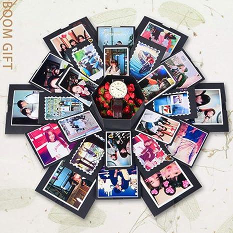 KFFKJJLL - Caja de explosión Hexagonal con Acabado Multicapa, Producto Sorpresa de confesión, álbum de Fotos, romántico, Regalo Creativo para cumpleaños, Boda, Color Negro: Amazon.es: Hogar