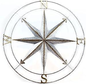 Zeckos Distressed Galvanized Zinc Finish Compass Rose Metal Wall Hanging 39 Inch