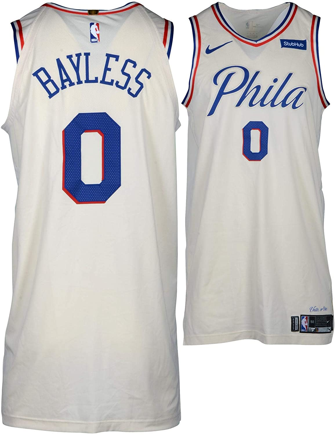 new concept 33148 8aa62 Jerryd Bayless Philadelphia 76ers Game-Used #0 Cream Jersey ...