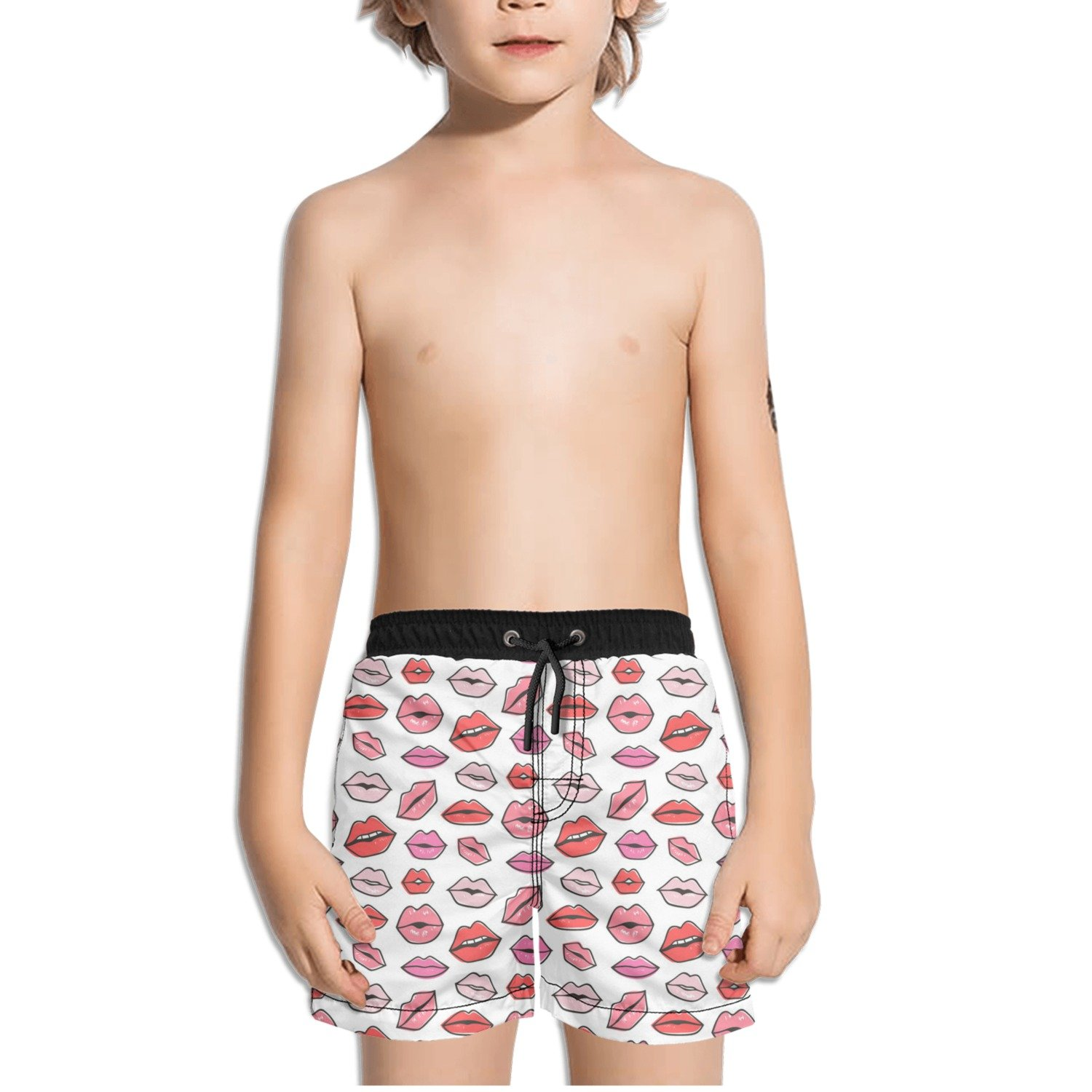 FullBo Lips Kiss Valentine's Day Little Boy's Short Swim Trunks Quick Dry Beach Shorts