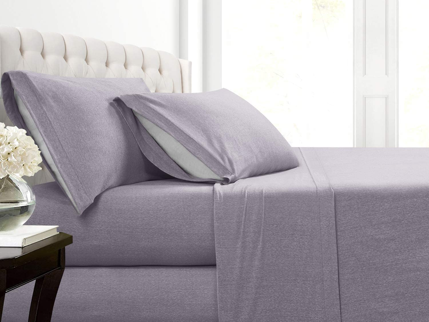 Cotton Rich T-Shirt Soft Heather Jersey Knit Sheet Set - All Season Bed Sheets,, Warm and Cozy, Comfort by Morgan Home Fashions (Full, Heather Purple)
