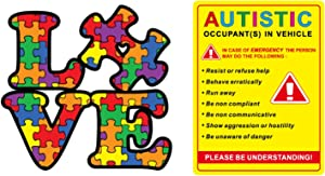 eDesign 2-Pack Autistic Occupant in Vehicle and Autism Awareness Love Puzzle Stickers Decals for Car Truck Van SUV Window Wall Cup Tumblers Laptop