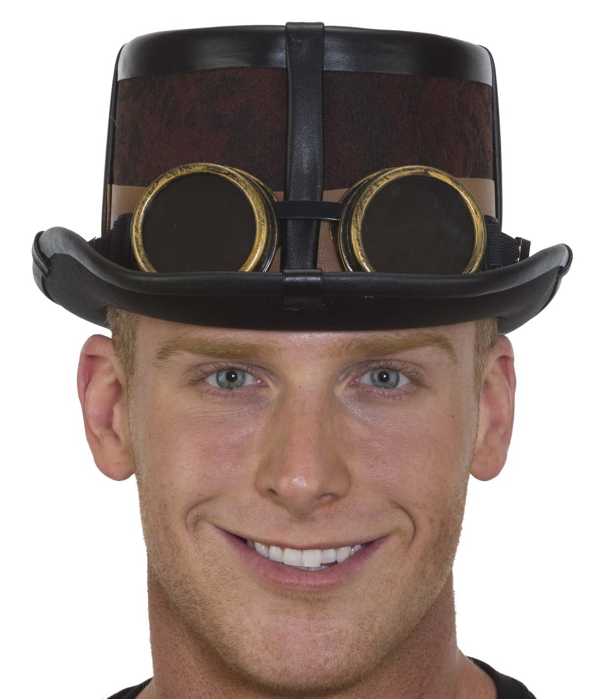 Caufields Brown Steampunk Hat with Black Straps,One Size by Caufield's