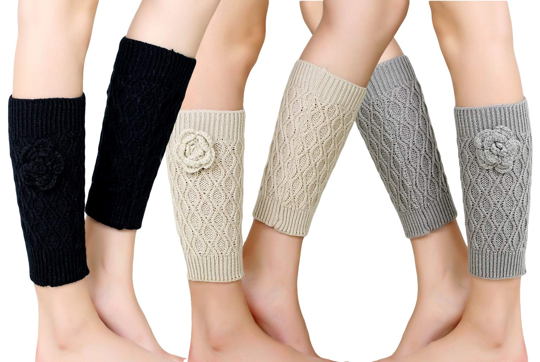 Santwo Women Winter Warm Crochet Knitted Boot Cuff Sock Short Leg Warmer 3 Pairs (Model 5)