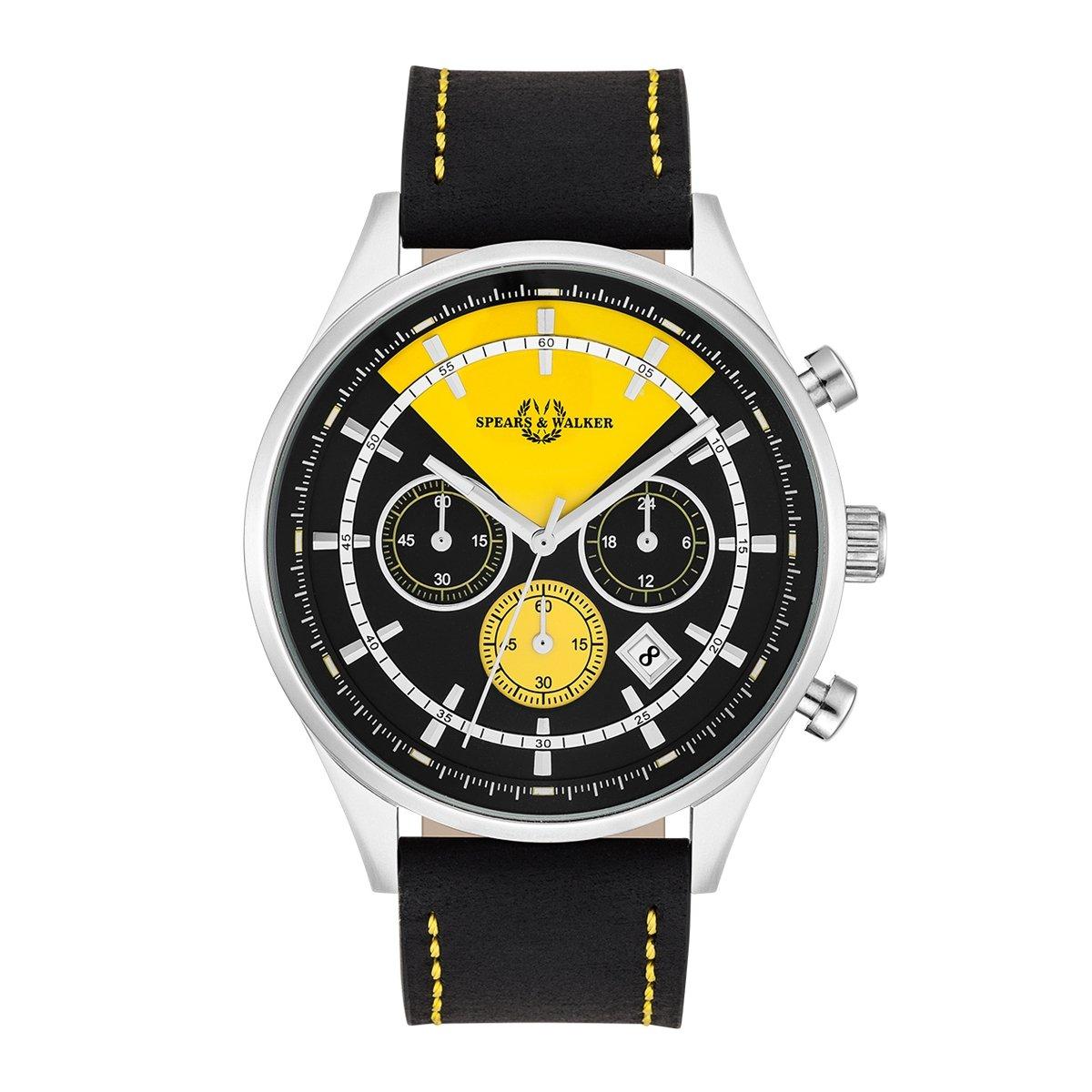 Empire & Walker Power Racer - Reloj de hombre cronógrafo acero inoxidable plata/negro amarillo 5 ATM de precisión cuarzo Cronómetro/totalisatoren pulsera de ...