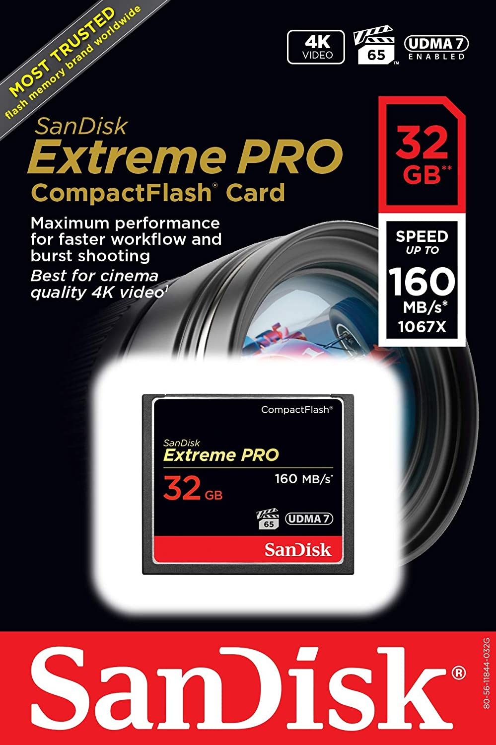 SanDisk Extreme PRO 32GB CompactFlash Memory Card UDMA 7 Speed Up To 160MB//s SDCFXPS-032G-X46