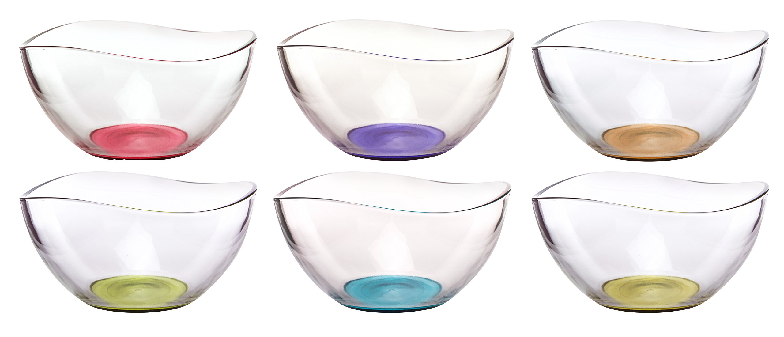 Mini Colored Glass Wavy Serving/Prep Bowls, 10 1/2 Ounce, Set of 6 - 5'' x 5'' x 2.5'' each
