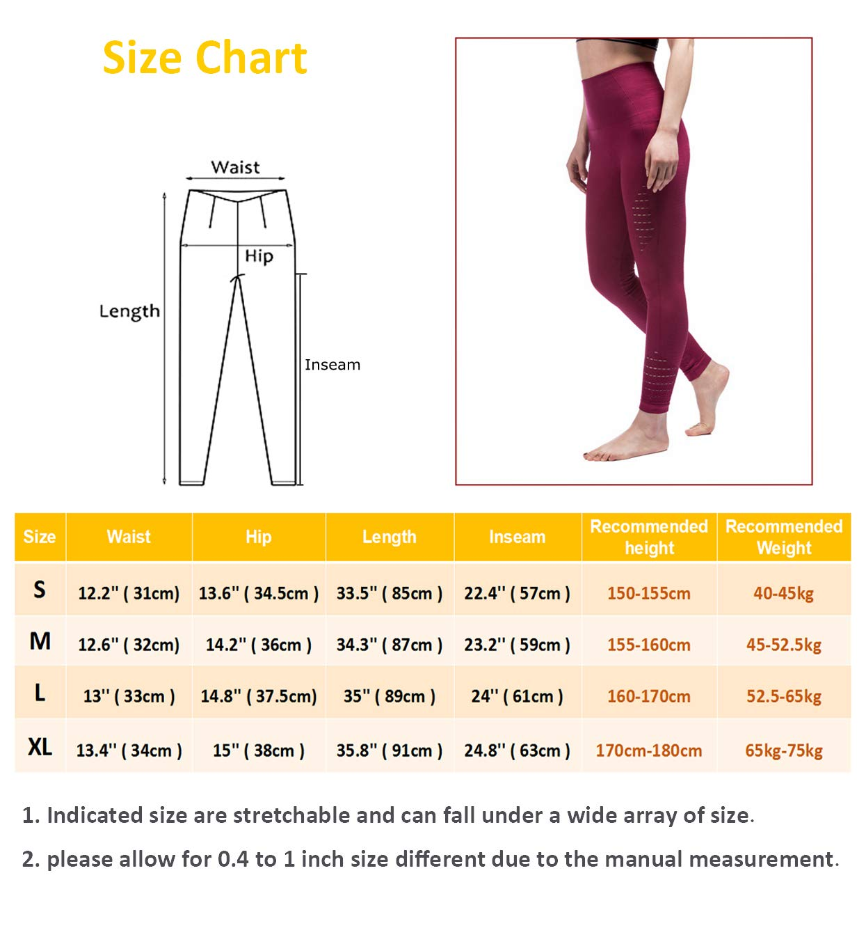 TINLUNG High Waist Yoga Pants with Tummy Control Hollow Out Design Fitness Workout Leggings Running Sports Gym Stretch Tights Trousers for Women Wine Red M