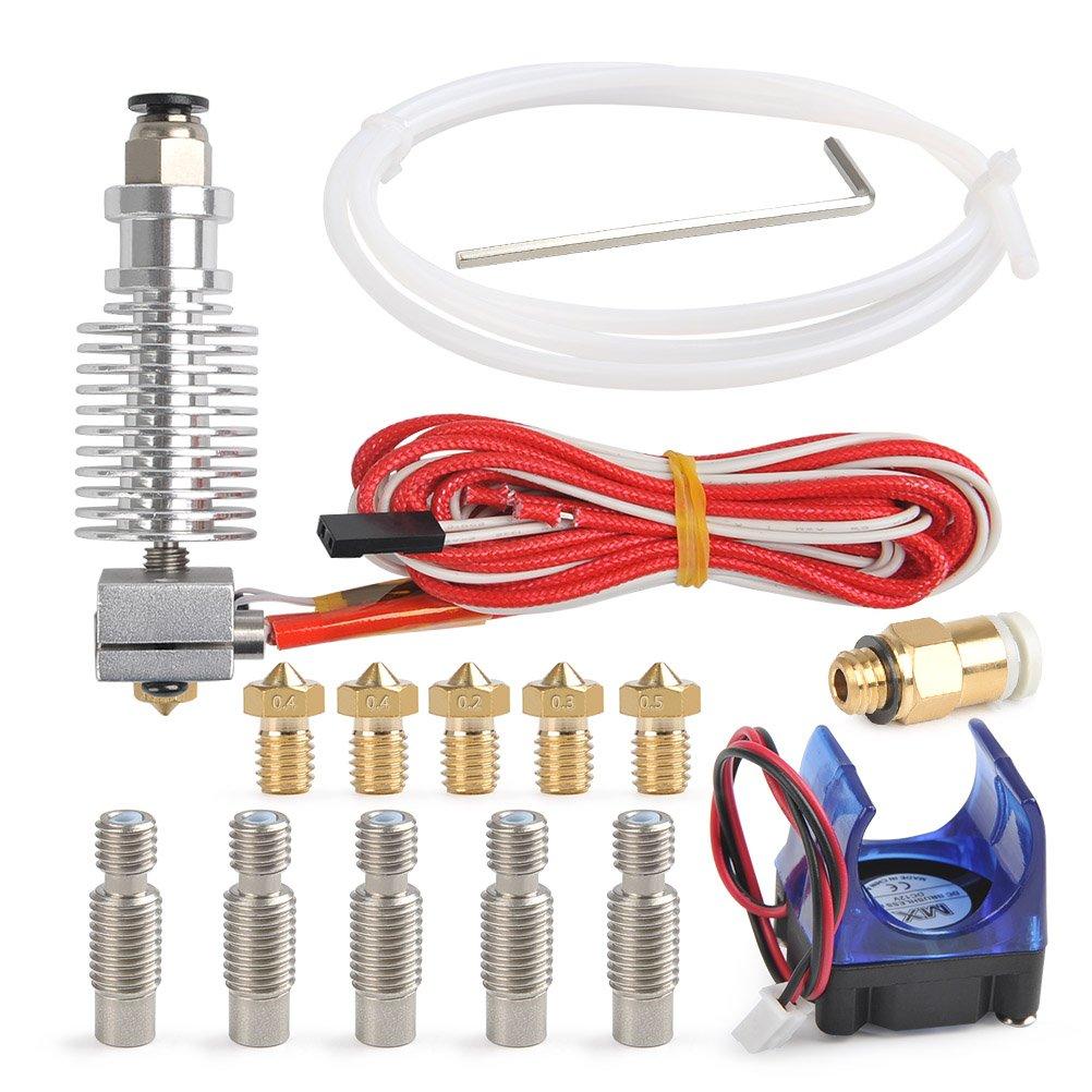 YOTINO 16Pcs JHead V6 Hotend Sets, Kit de metal completo Hotend 5Pcs Extrusor Latón Print Head 5Pcs Boquilla tubo extrusión para impresora 3D 1.75mm Extrusora filamento (ventilador, Mini llave)