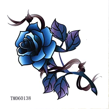e7decc6266ac8 Amazon.com : Black Totem Blue Rose Love Rose Tattoo Stickers Temporary  Tattoos Paste Neck Shoulder Chest Hand Fashion Models Single Noble  Alternative ...