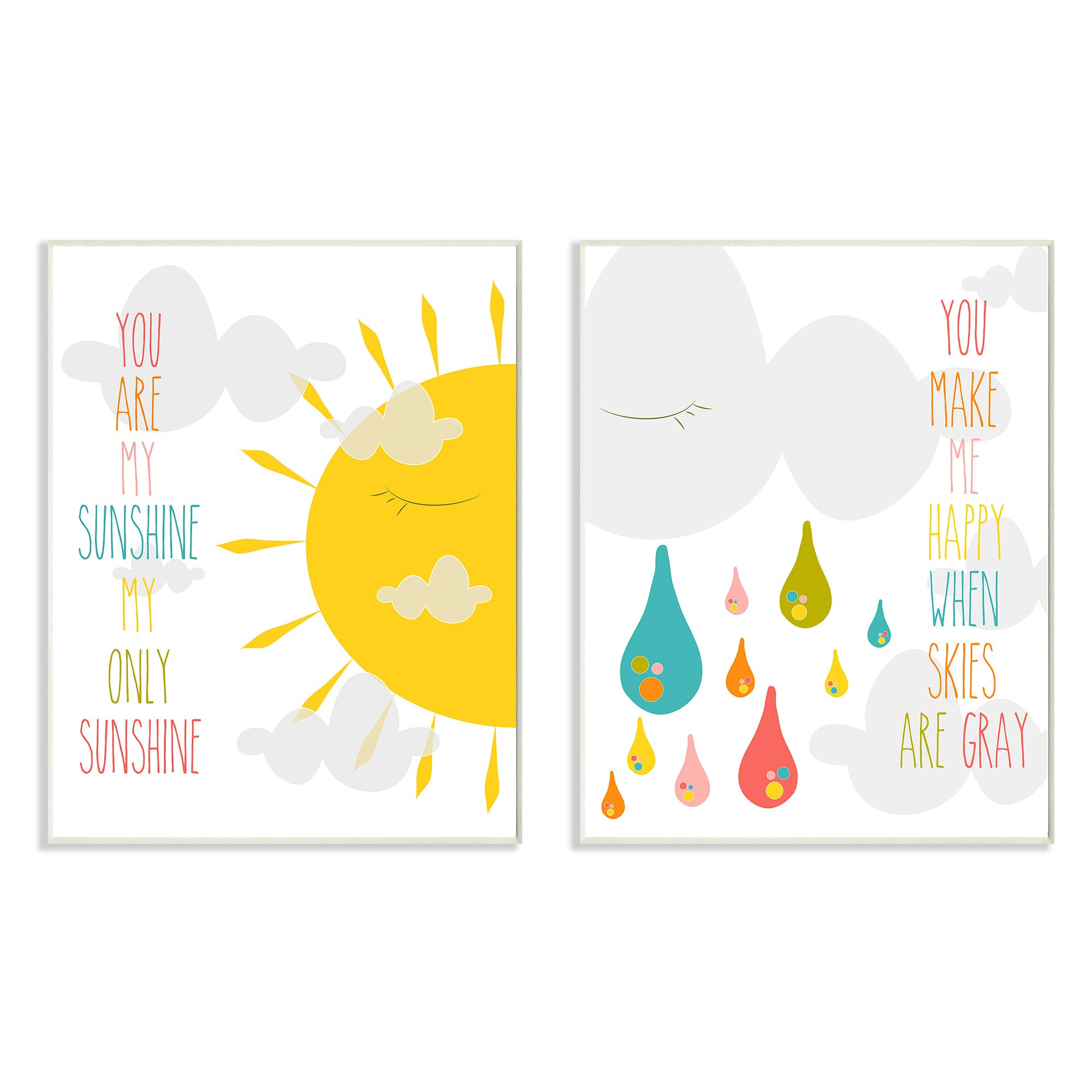 The Kids Room by Stupell 2 Piece Graphic Wall Plaque Set, You are My Sunshine by The Kids Room by Stupell