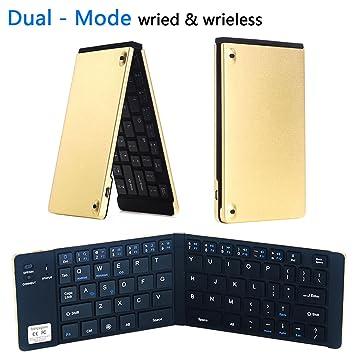 Portátil plegable Bluetooth teclado inalámbrico y con cable USB modo Dual Conexión ultra-slim Mini