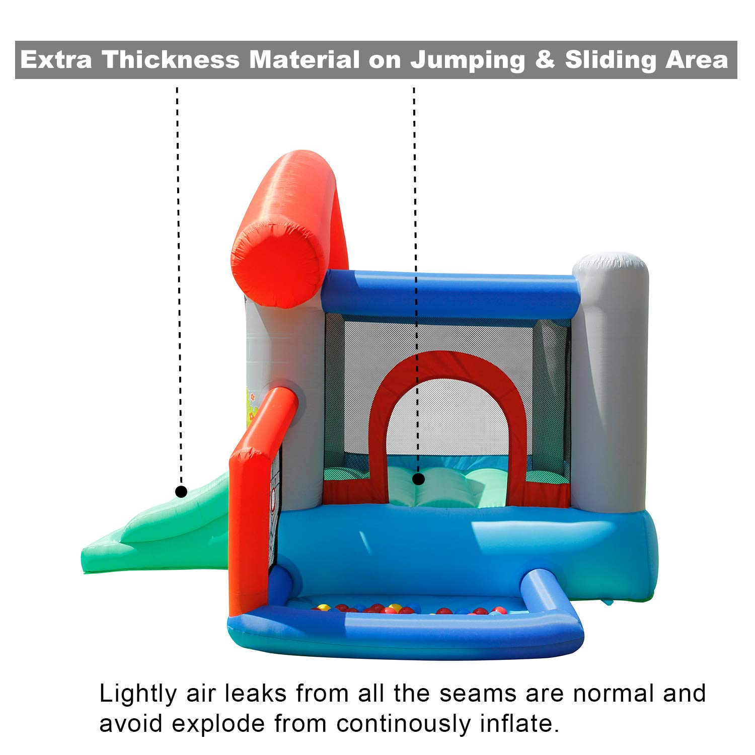 ACTION AIR Bounce House, Air Bouncer with 30 Ball, Inflatable Bouncer with Air Blower, Jumping Castle with Slide, for Outdoor and Indoor, Durable Sewn with Extra Thick Material, Idea for Kids by ACTION AIR (Image #2)
