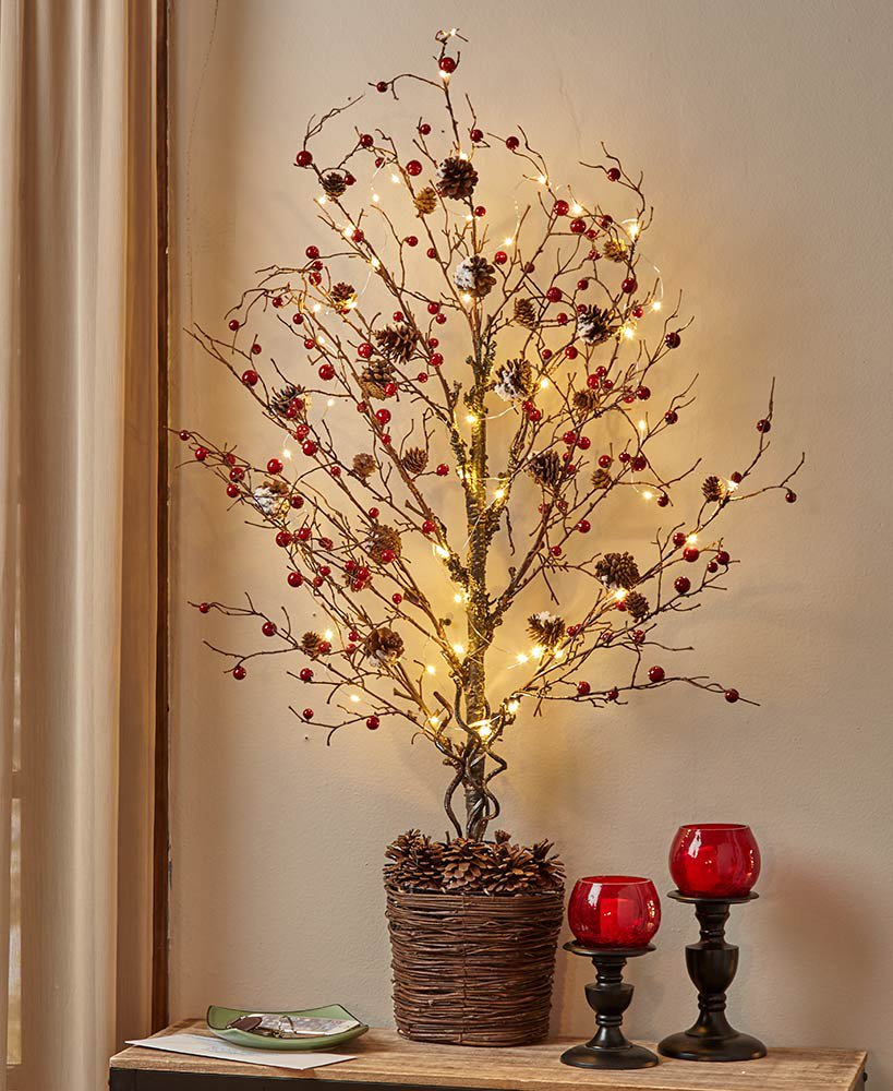 The Lakeside Collection 39'' Country Berries Lighted Half Trees -