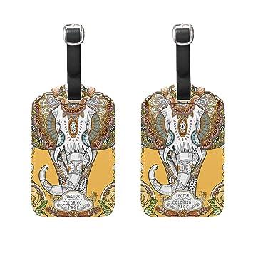 COOSUN Splendid Elefante Etiquetas de Equipaje de Viaje Etiquetas Titular Nombre de la Etiqueta Tarjeta para Equipaje Maleta Bolsa Mochilas, ...