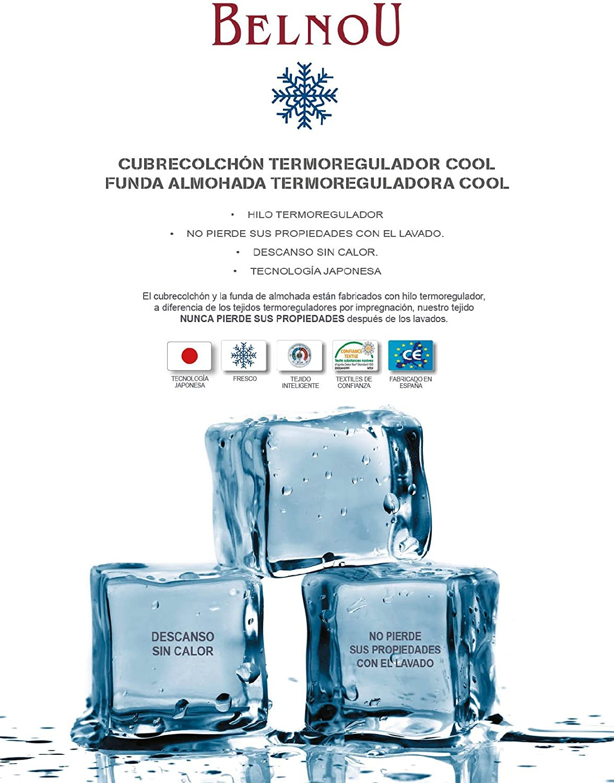 Belnou. Cubrecolchón Cool con Tejido Termoregulador Anti-Calor de Verano. (105x190 cm)