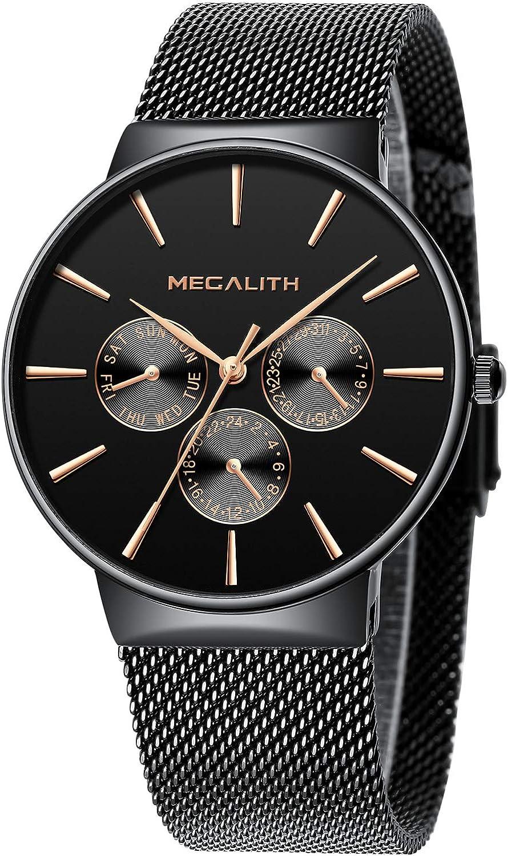 Relojes Hombre Relojes de Hombre Moda Impermeable Fecha Calendario Diseño Simple Analogicos Cuarzo Relojes de Pulsera de Malla de Acero Inoxidable Deportivo Negocio Casual