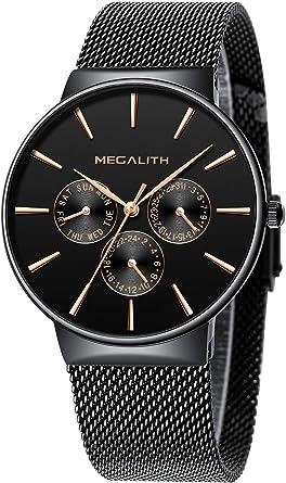 Relojes Hombre Relojes de Hombre Moda Impermeable Fecha Calendario Diseño Simple Analogicos Cuarzo Relojes de Pulsera de Malla de Acero Inoxidable Deportivo Negocio Casual: Amazon.es: Relojes