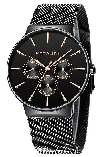 Relojes Hombre Relojes de Hombre Lujo Moda Impermeable Fecha Calendario Diseño Simple Analogicos Cuarzo Relojes de Pulsera de Malla de Acero ...