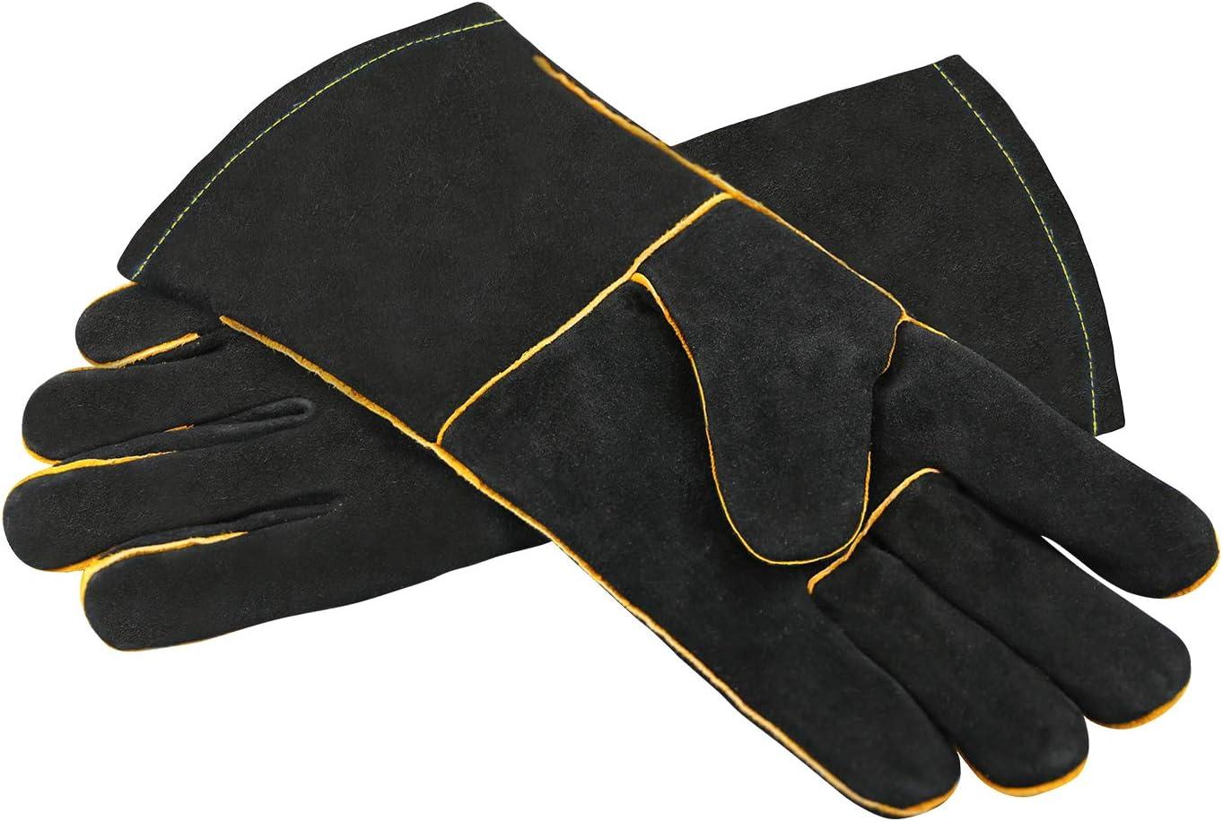 HEAVY DUTY Wood Burner Welding Heat UKResistant Leather Gloves Stoves Fire Black
