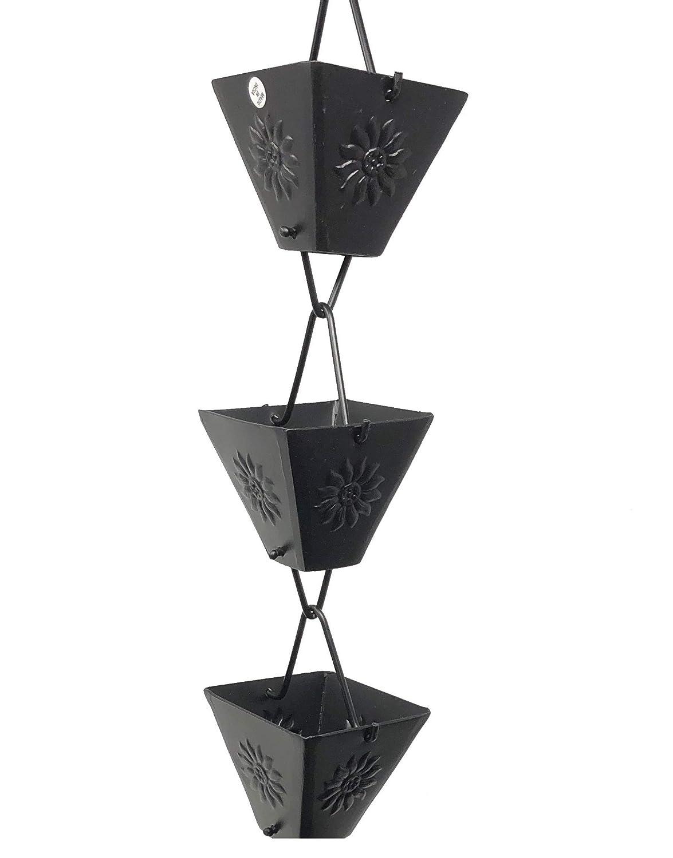 XL Square Cup Sunflower Emboss Aluminum Black 8.5 ft Length #5515BLK U-nitt 8-1//2 feet Rain Chain